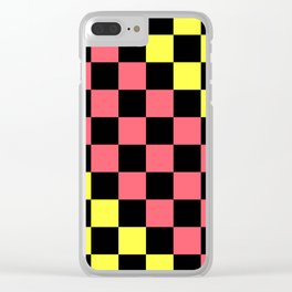 Black, Pink, & Yellow Checkerboard Pattern Clear iPhone Case