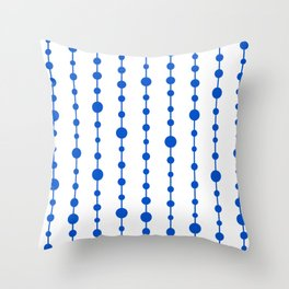 Blue vertical lines and dots Throw Pillow
