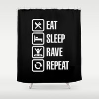 rave Shower Curtains featuring Eat sleep rave repeat by Laundry Factory