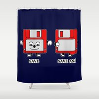 ass Shower Curtains featuring Save Ass by Barbo's Art
