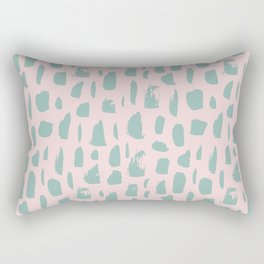 Handdrawn mint drops and dots on pink -Mix & Match with Simplicty of life Rectangular Pillow