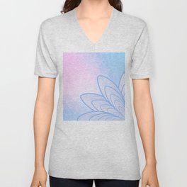 Flower on Pastel Pink and Blue Geometric Pattern Unisex V-Neck