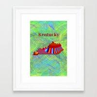 kentucky Framed Art Prints featuring Kentucky Map by Roger Wedegis