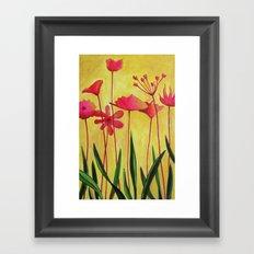Pink on Yellow Framed Art Print