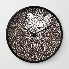 Leopard skin and head background Wall Clock
