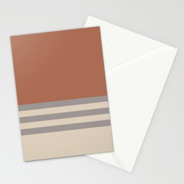 Slate Violet Gray SW9155 and Creamy Off White SW7012 Horizontal Stripes on Cavern Clay SW 7701 Stationery Cards