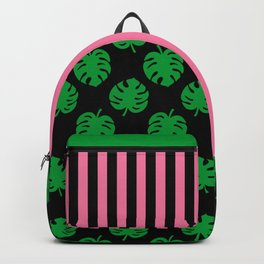 Philodendrons Pattern - Green on Black Backpack