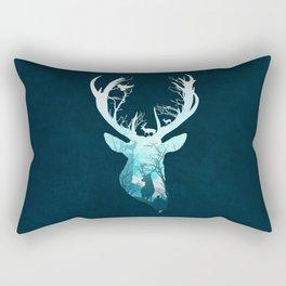 Deer Blue Winter Rectangular Pillow