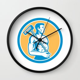 Union Worker With Sledgehammer Circle Retro Wall Clock