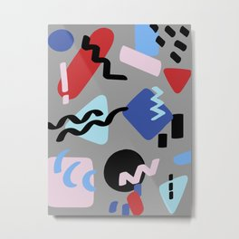 80's Postmodern Shape Party in Gray Metal Print