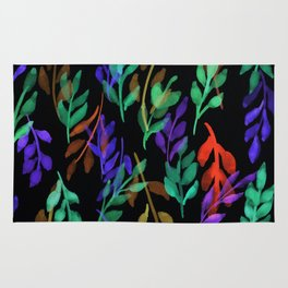 180726 Abstract Leaves Botanical Dark Mode 8 |Botanical Illustrations Rug