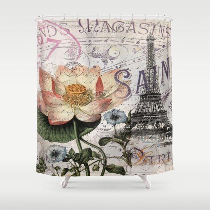 French Scripts Lotus Floral Vintage Paris Eiffel Tower Shower Curtain