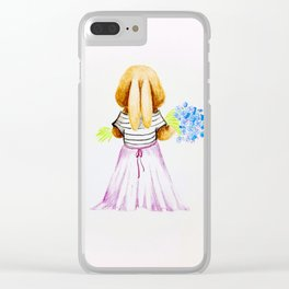 Bunny Rabbit Girl with Flowers Clear iPhone Case