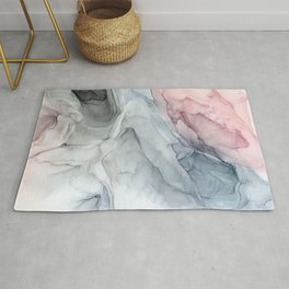 Pastel Blush, Grey and Blue Ink Clouds Painting Rug