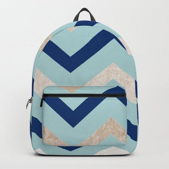 Marine zig zag - golden gradient turquoise Backpack