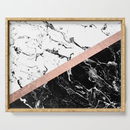 Modern black white marble color block rose gold Serving Tray