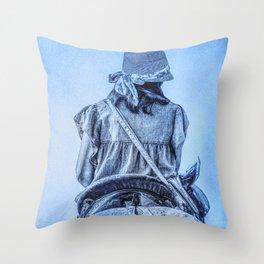 girl riding horse Throw Pillow