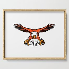 Bald Eagle Swooping Front Mascot Serving Tray