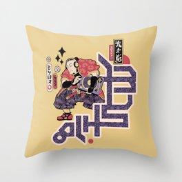 Turntable Samurai Throw Pillow