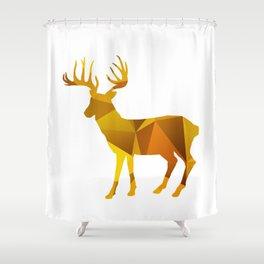 Deer - Gold Geomatric Shower Curtain