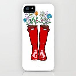 Rain Boot Flowers iPhone Case