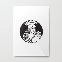 Female Spartan Warrior Circle Black and White Metal Print