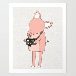 Pig with a Camera Art Print
