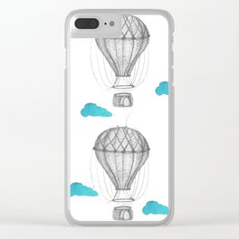 Graphite drawing hot air balloons pattern Clear iPhone Case