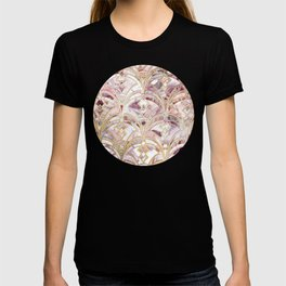 Dusty Rose and Coral Art Deco Marbling Pattern T-shirt