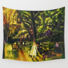 Sunday in Gramercy Park, NYC landscape painting by George Wesley Bellows Wall Tapestry