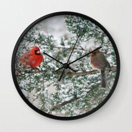 Snowy Branch Cardinals Wall Clock