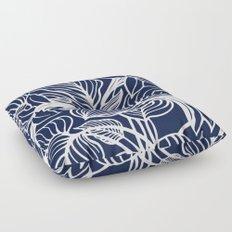 Indigo Navy Blue Floral Floor Pillow