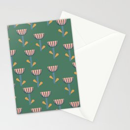 Folksy Floral Pattern in Green Stationery Cards
