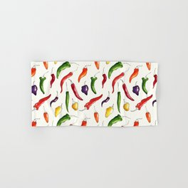 Ink and watercolor hot chillies pattern Hand & Bath Towel