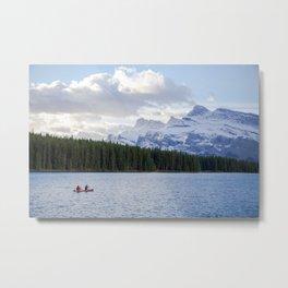 Canoeing on Two Jack Lake  Metal Print