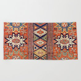 Southwestern Farmhouse III // 19th Century Colorful Red Yellow Blue Green Aztec Farm Stars Pattern Beach Towel
