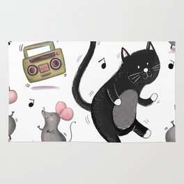 Just Dance-Cat and Mice Pattern Rug