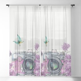 Camera with Summer Flowers 2 Sheer Curtain