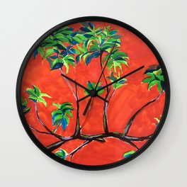 tree branch on orange sky painting Wall Clock