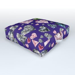 Heart Diamonds are Forever Love Violet Outdoor Floor Cushion
