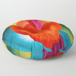 Red Canna Lilies Flower Still life Portrait Painting by Georgia O'Keeffe Floor Pillow