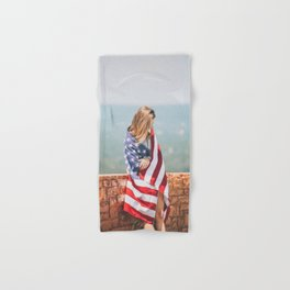 Girl in american flag Hand & Bath Towel