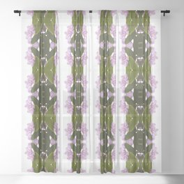 Pink Azalea Flowers with Spring Green Leaves Sheer Curtain