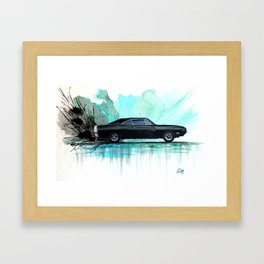 Watercolor Painting of a 1970 Black Dodge Charger RT Framed Art Print