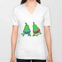 pear V-neck T-shirts featuring Gay Pear by mailboxdisco