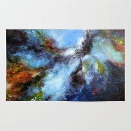 Colorful abstract galaxy. Nebula in Space. Oil painting artwork. Rug