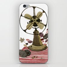 Still life with vintage fan and autumn leaves iPhone & iPod Skin