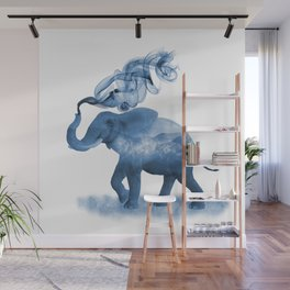 Blue Smoky Clouded Elephant Wall Mural