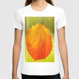 Orange Leaf Vivid Green Background #decor #society6 #buyart T-shirt