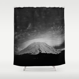 Mount Saint Helens Black and White Shower Curtain